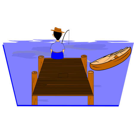 tied up: man fishing off dock with canoe tied up  Illustration