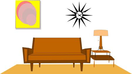 fifties living room interior Stock Vector - 12783901