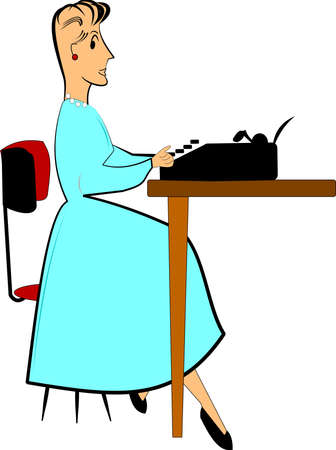 40s: retro lady sitting at typewriter