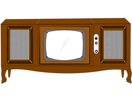 1964 console television set over white  Vector