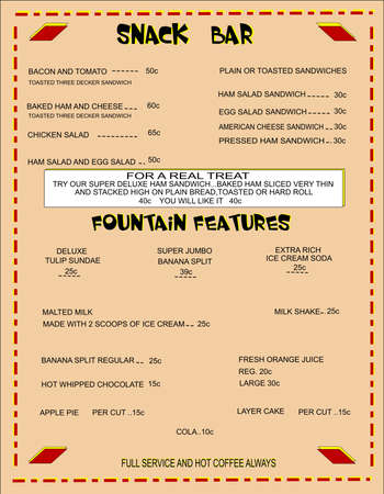 menu from fiifties snack bar with original prices