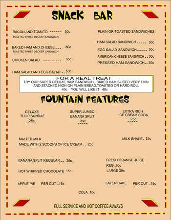 menu van fiifties snackbar met originele prijzen