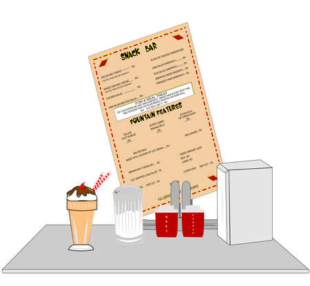 over the counter: diner counter over white Illustration