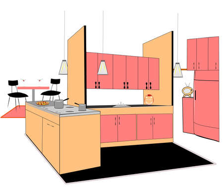 retro kitchen over white design