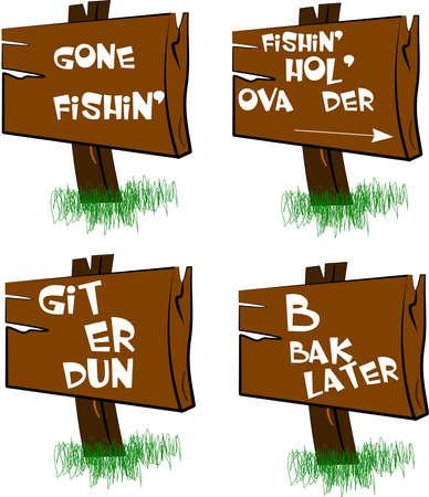 slang: gone fishin signs  Illustration