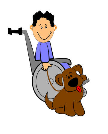 彼の犬の車椅子の少年