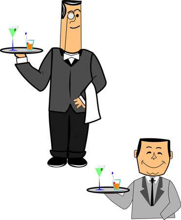 person shined: two styles of waiters over white  Illustration