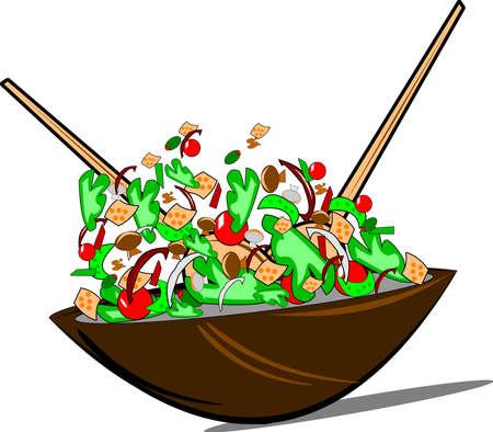 ensalada verde: ensalada de rossed sobre blanco con el vector de cucharas de madera