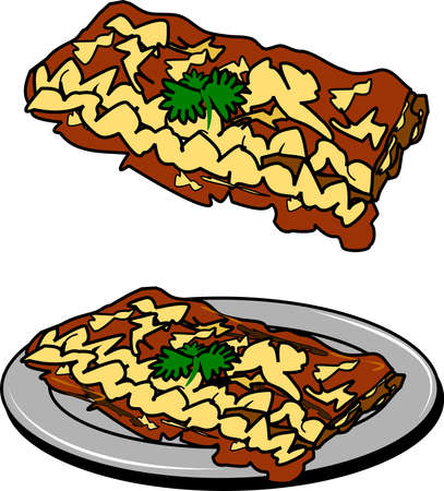 lasagna: lasagna on plate in two styles