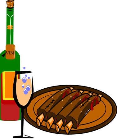 costilla: barbacoa costillas con una botella de vino