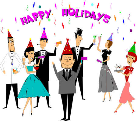 new year celebration: happy holidays retro style illustration