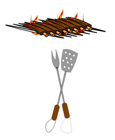 ribs on grill for bbq  Vector