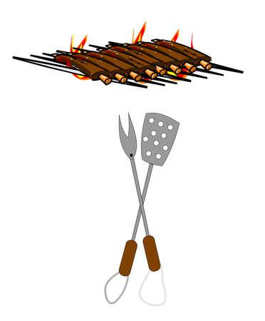 Rippen auf Grill für BBQ Standard-Bild - 12783956
