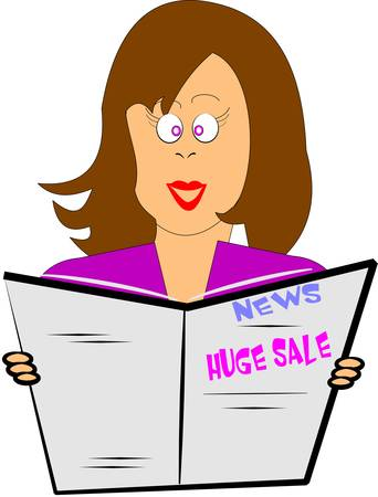 woman readin newspaper with huge sale headlines Vector