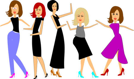 show time: reality show ladies cartoon characters Illustration