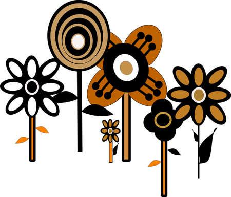 jaren zestig bloempatroon behang