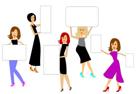 big size: women holding sale signs