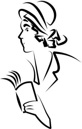 sketch book: sketch of retro lady reading a book