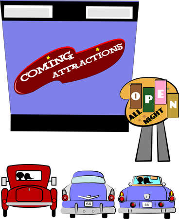 drive in with classic cars  Stock Vector - 12783985