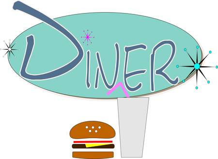 diner sign with drink and hamburger in retro style Vector