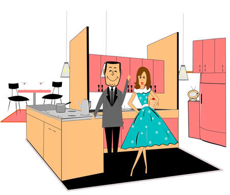 retro family in kitchen over white  Vector