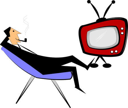 man relaxing watching television Vector