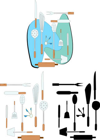 kitchen utensils in 3 styles Vector