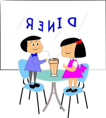 boy and girl sharing a milkshake in diner Vector
