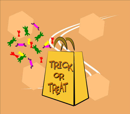 trick or treat bag with candies for halloween