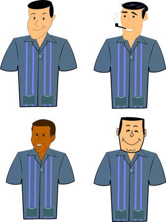Les hommes rétro en chemises de bowling sur blanc Banque d'images - 12998734
