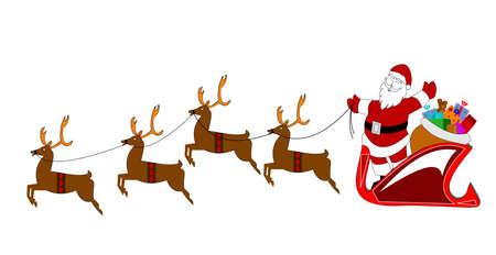 santa with reindeer over white  Illustration