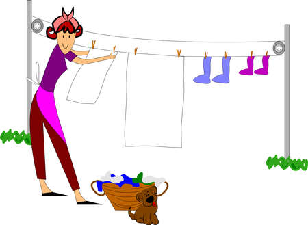 laundry line: mujer retro colgar la ropa afuera Vectores
