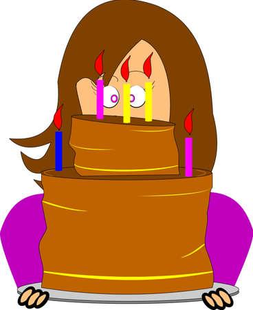 거대한 생일 케이크를 나르는 여자