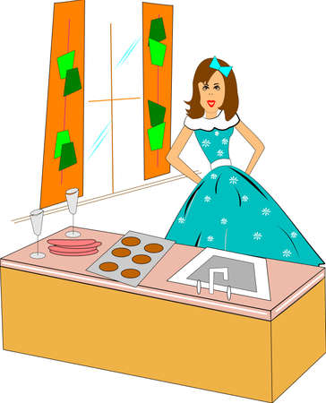 bow window: retro housewife in the kitchen