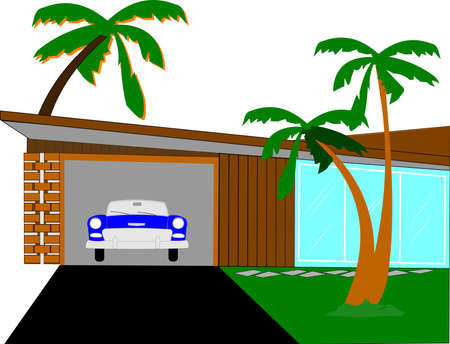 parked: retro california home  Illustration