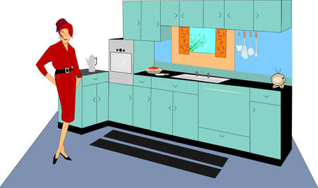 pencil skirt: retro kitchen with lady in pencil skirt and pill box hot