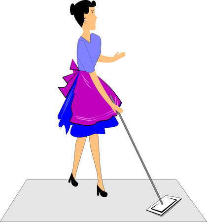 woman mopping the floor in retro style 矢量图像