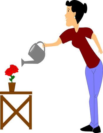 lady watering her roses  Ilustração