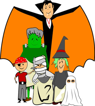 kids in halloween costumes Stock Vector - 13174514