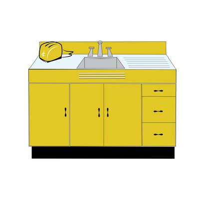 lavabo: fregadero de la cocina retro y tostadora