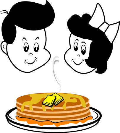 griddle: children looking at pancakes Illustration