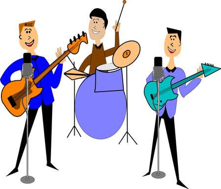 baile caricatura: banda de rock and roll de los años cincuenta