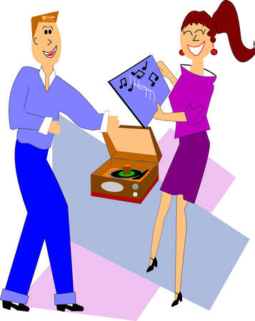 happy old age: teens playing records from the fifties Illustration