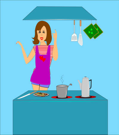 mom in kitchen  Vector