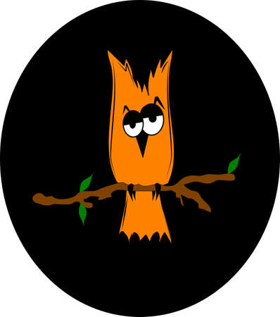droopy: halloween owl in night sky  Illustration