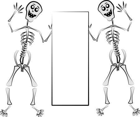 skeletons holding sign