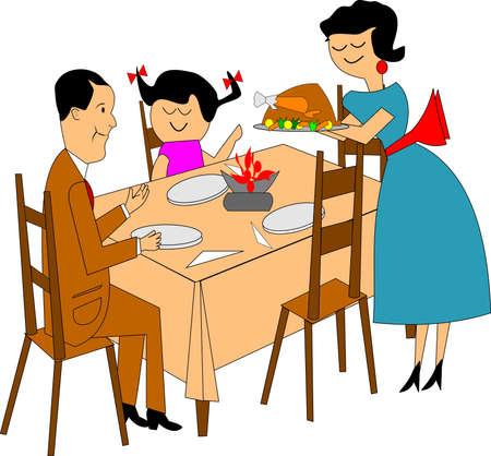 setting table: family dinner over white