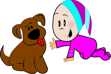 pjs: baby with puppy  Illustration