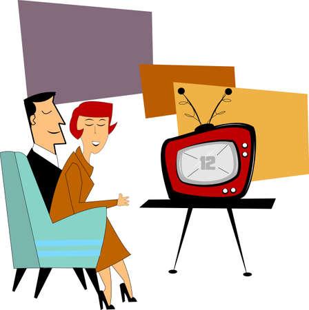 sofa viejo: pareja viendo la televisi�n en la d�cada de los cincuenta nuevos
