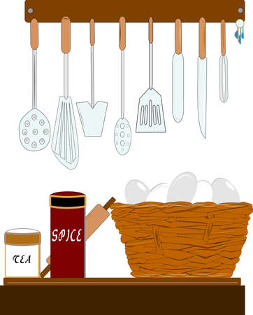 measuring spoons: my kitchen  Illustration
